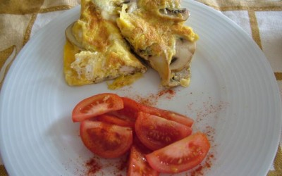Omelete de Frango e Cogumelos