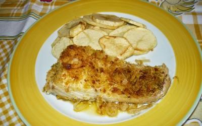 Bacalhau no forno com crosta de broa de milho
