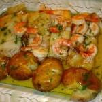 Bacalhau com camarão no forno