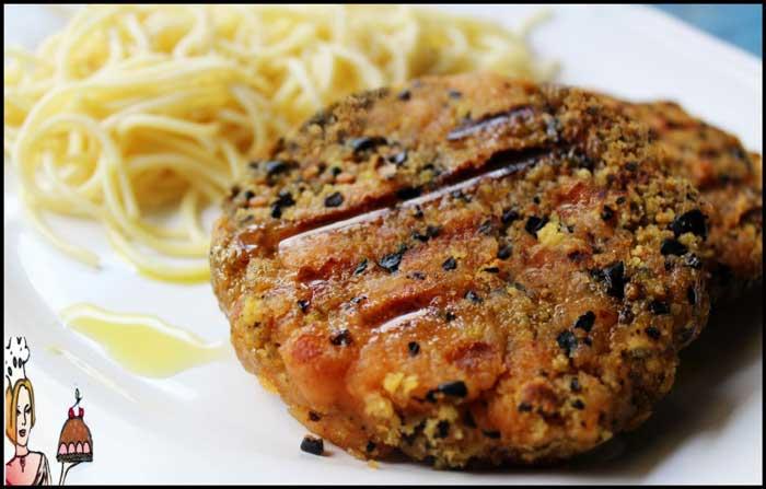 Hambúrgueres de farinheira, broa e azeitonas pretas