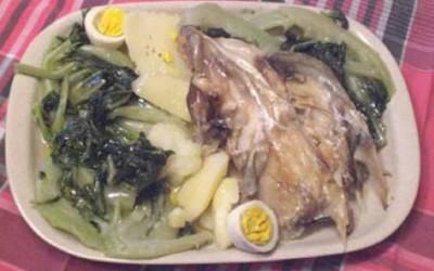 Caras de bacalhau cozidas
