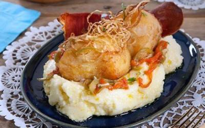 Bacalhau frito com puré