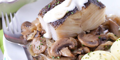 Bacalhau Assado com Cogumelos