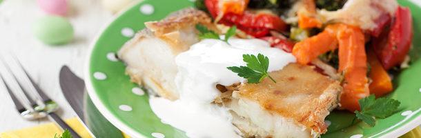 Bacalhau Assado com Legumes Gratinados da Época