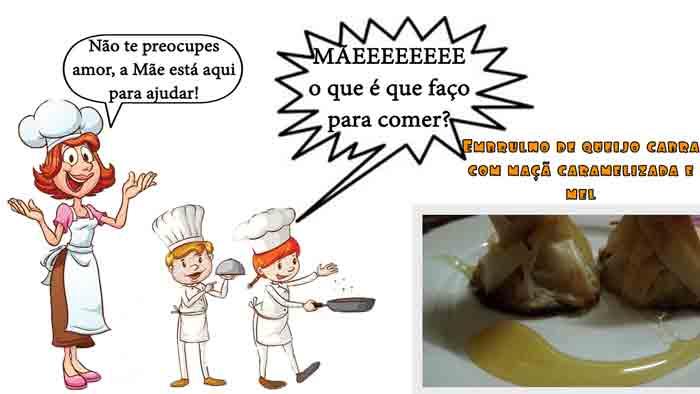 Embrulhado de queijo cabra, maçã caramelizada e mel (ENTRADA DIA DOS NAMORADOS)