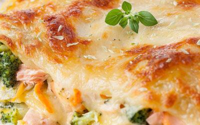 Lasanha de Salmão e Brócolos