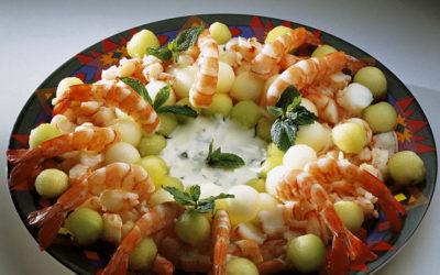 Salada de melão e camarão