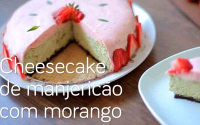 Cheesecake de manjericão com morango