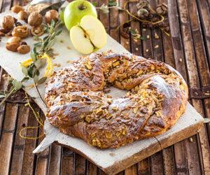 Coroa de maçã com frutos secos