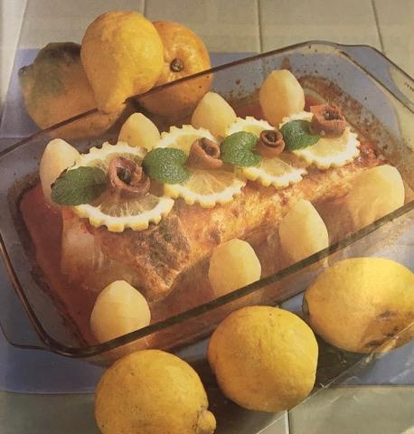 Pargo no forno com anchovas