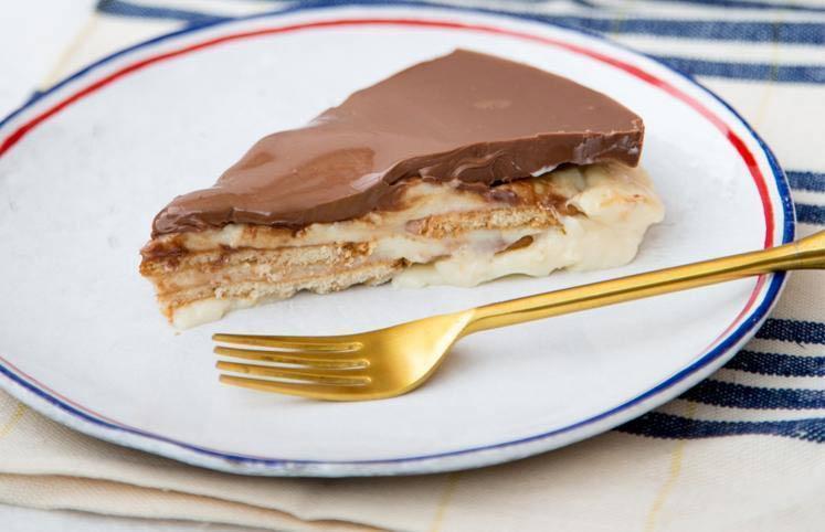 Doce de chocolate, avelã e bolacha Maria