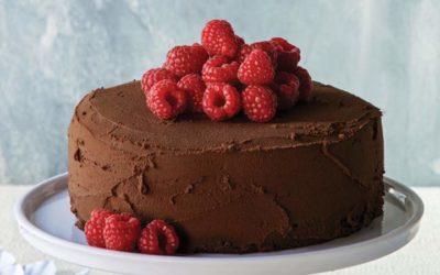 Bolo vegan de chocolate e framboesas